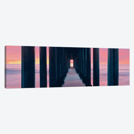 Sunset, Beneath Scripps Pier, La Jolla, San Diego, San Diego County, California, USA 3-Piece Canvas #PIM14147} by Panoramic Images Art Print