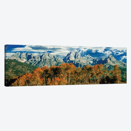 Autumn Landscape, Teton Range, Rocky Mountains, Grand Teton National Park, Wyoming, USA Canvas Print #PIM14154} by Panoramic Images Canvas Wall Art