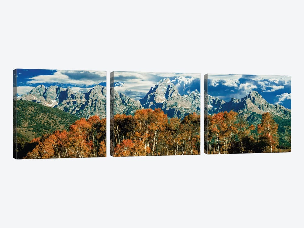 Autumn Landscape, Teton Range, Rocky Mountains, Grand Teton National Park, Wyoming, USA by Panoramic Images 3-piece Canvas Artwork