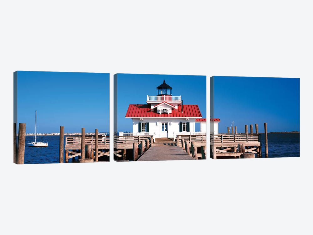 Roanoke Marshes Lighthouse, Outer Banks, Manteo, Dare County, North Carolina, USA by Panoramic Images 3-piece Canvas Print