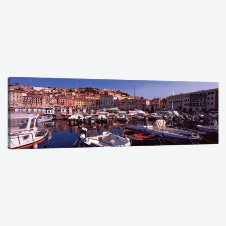 Docked Boats I, The Harbor Of Portoferraio, Island of Elba, Livorno Province, Tuscany, Italy Canvas Print #PIM14188} by Panoramic Images Canvas Wall Art