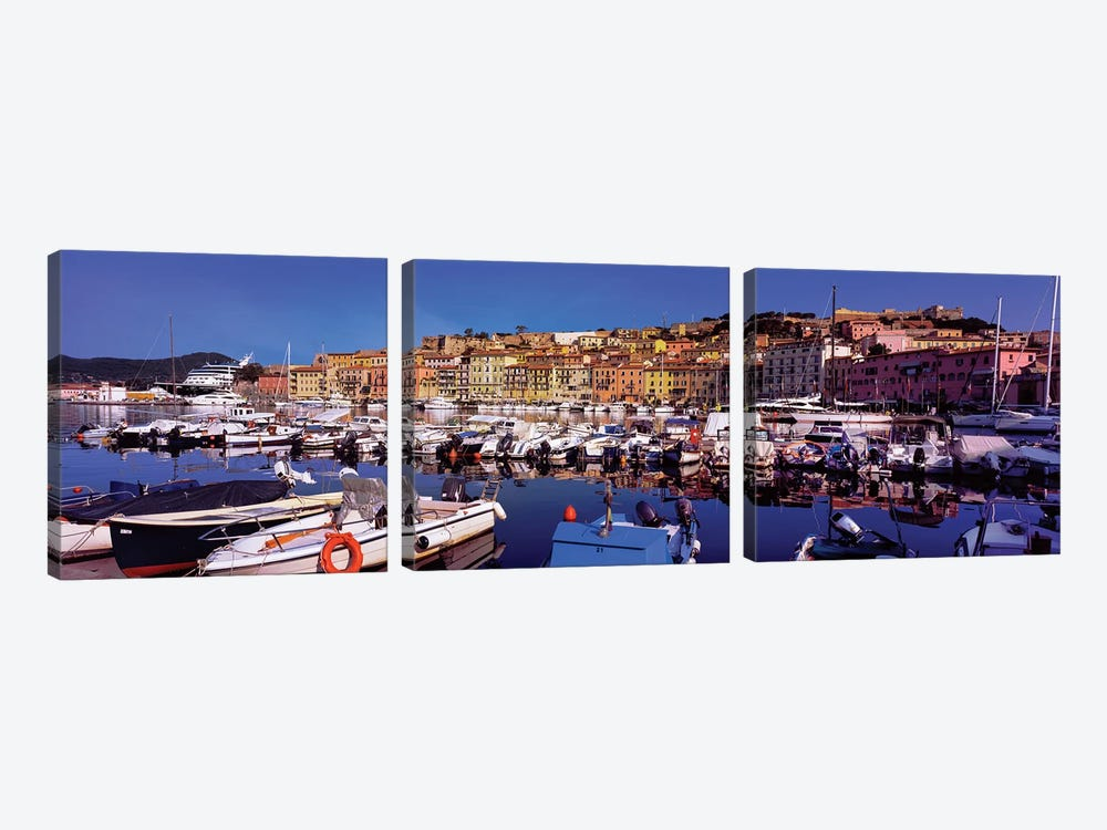 Docked Boats II, The Harbor Of Portoferraio, Island of Elba, Livorno Province, Tuscany Region, Italy by Panoramic Images 3-piece Canvas Wall Art
