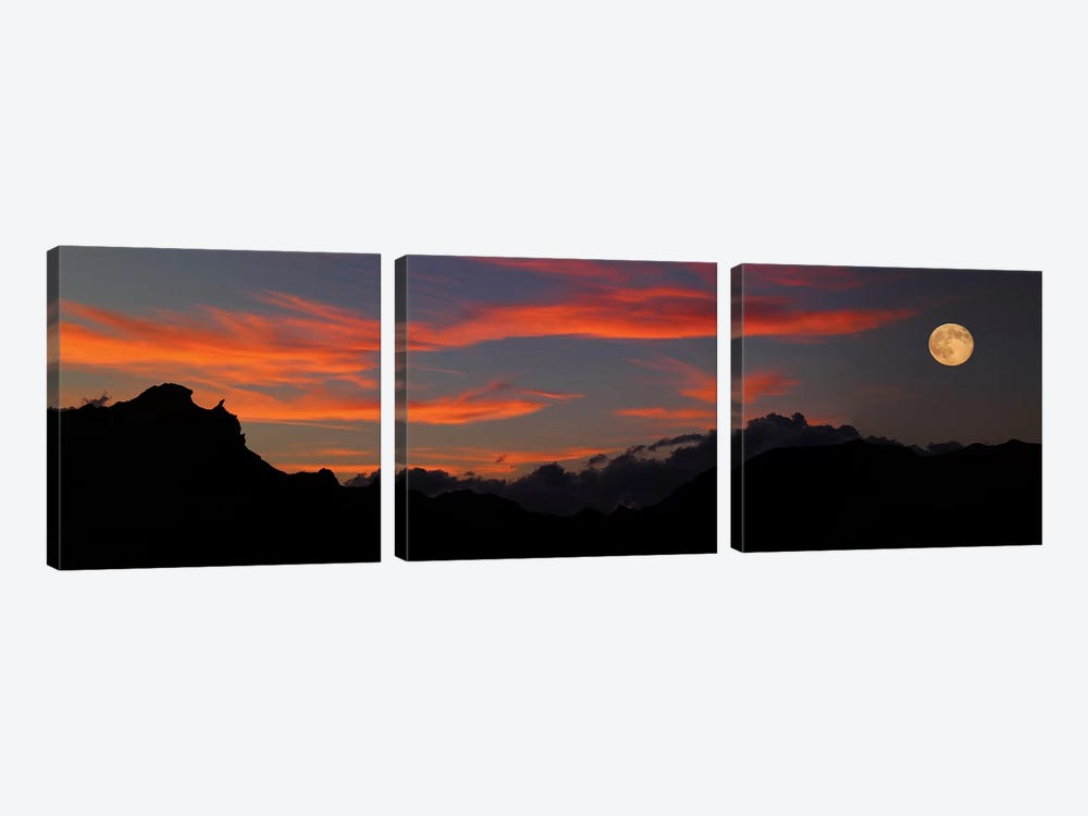 Rising Super Moon, Badlands National Park, South Dakota, USA 3-piece Art Print