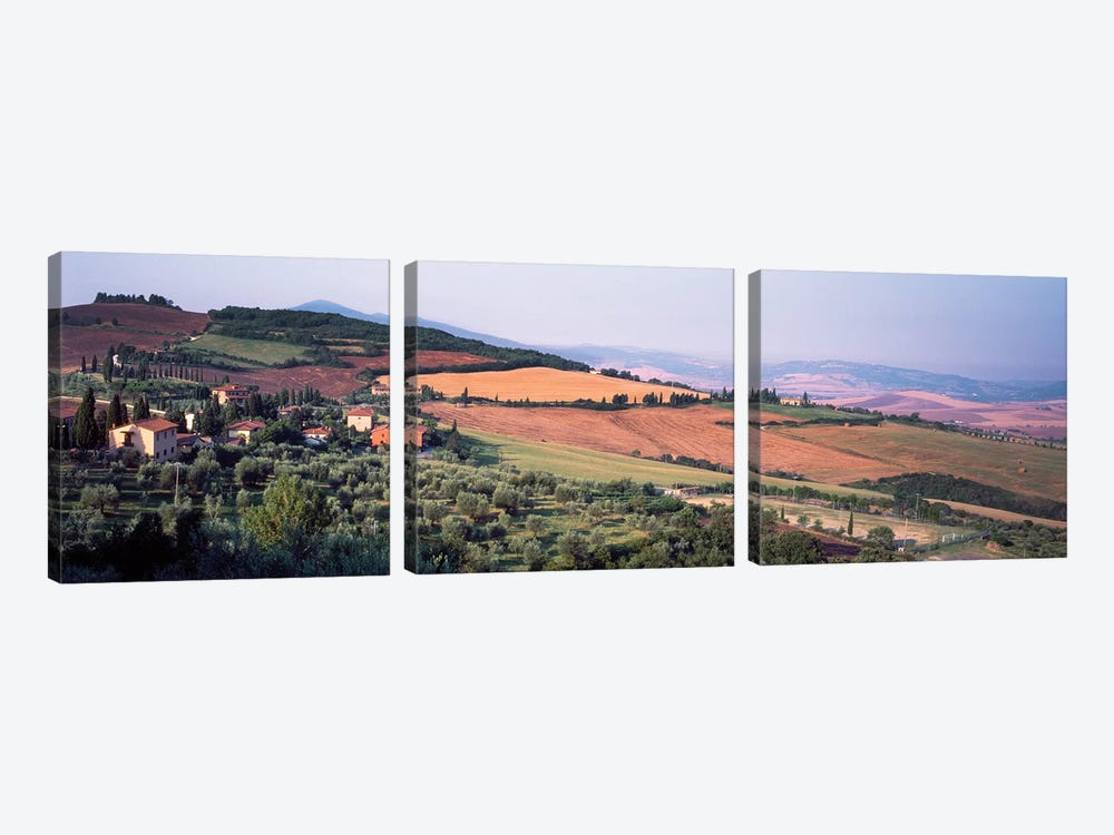 Countryside Landscape, Monticchiello Subdivision, Pienza, Siena Province, Tuscany Region, Italy by Panoramic Images 3-piece Canvas Artwork