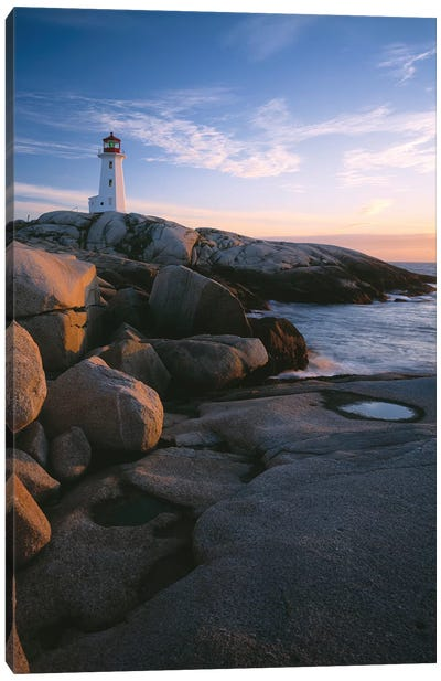 Peggys Point Lighthouse, Peggys Cove, Halifax Region, Nova Scotia, Canada Canvas Art Print
