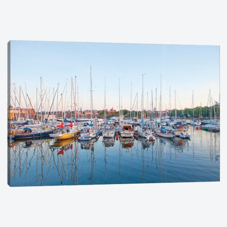 Docked Boats, Djurgarden, Stockholm, Sweden Canvas Print #PIM14209} by Panoramic Images Canvas Art Print