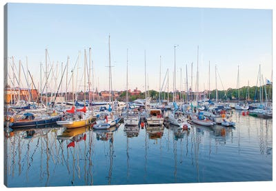 Docked Boats, Djurgarden, Stockholm, Sweden Canvas Art Print
