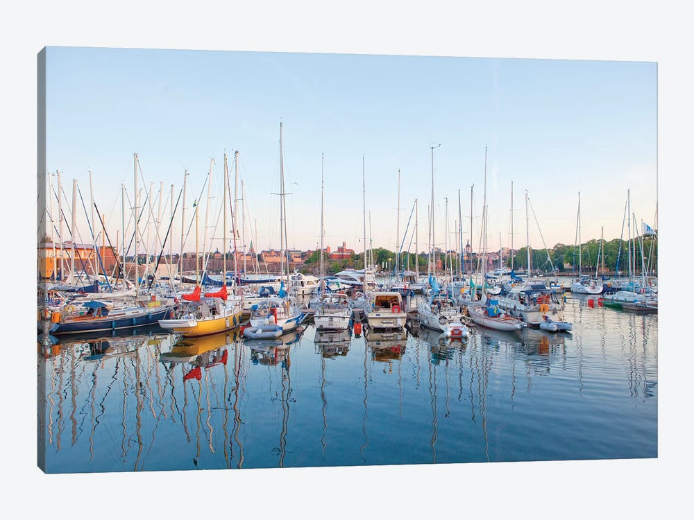 Docked Boats, Djurgarden, Stockholm, Sweden by Panoramic Images 1-piece Canvas Artwork
