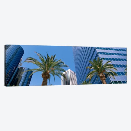 Low Angle View Of Downtown Office District, Los Angeles, California, USA Canvas Print #PIM1421} by Panoramic Images Canvas Art Print