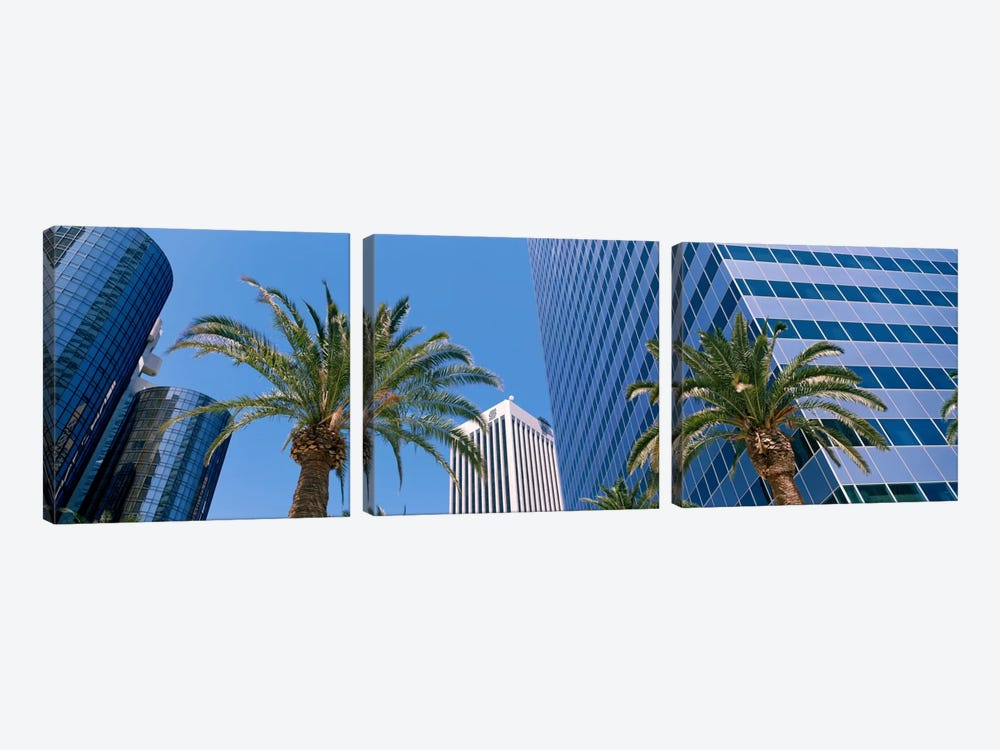Low Angle View Of Downtown Office District, Los Angeles, California, USA by Panoramic Images 3-piece Canvas Art