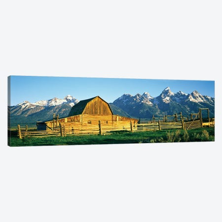 John Moulton Barn II, Mormon Row Historic District, Grand Teton National Park, Jackson Hole Valley, Teton County, Wyoming, USA Canvas Print #PIM14229} by Panoramic Images Art Print