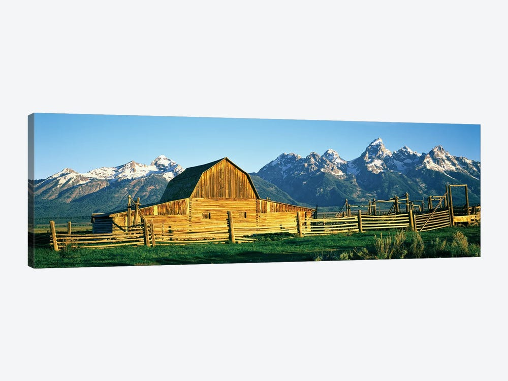 John Moulton Barn II, Mormon Row Historic District, Grand Teton National Park, Jackson Hole Valley, Teton County, Wyoming, USA by Panoramic Images 1-piece Canvas Art