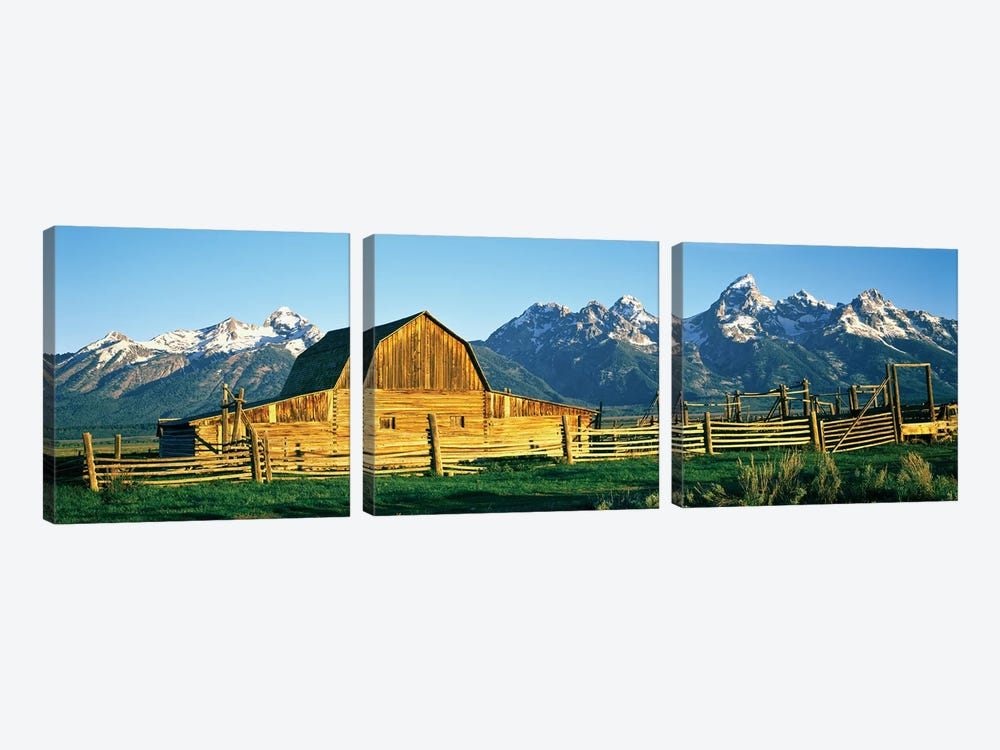 John Moulton Barn II, Mormon Row Historic District, Grand Teton National Park, Jackson Hole Valley, Teton County, Wyoming, USA by Panoramic Images 3-piece Canvas Artwork