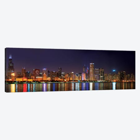 Chicago Cubs Pride Lighting Across Downtown Skyline I, Chicago, Illinois, USA Canvas Print #PIM14231} by Panoramic Images Canvas Wall Art