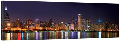 Chicago Cubs Pride Lighting Across Downtown Skyline I, Chicago, Illinois, USA Canvas Art Print