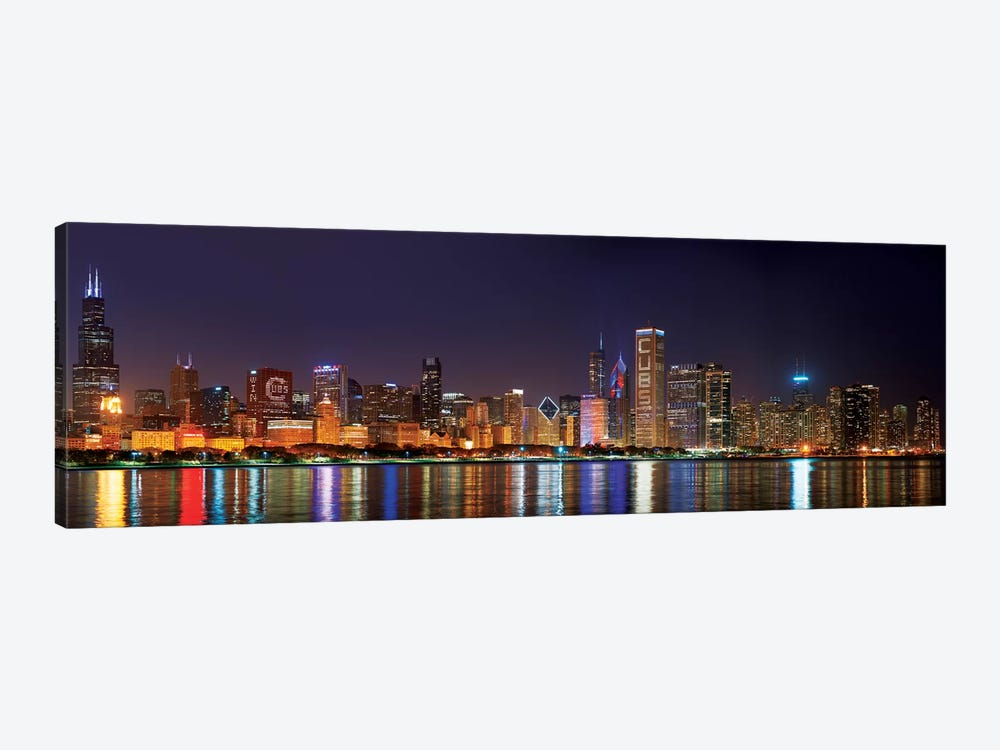Chicago Cubs Pride Lighting Across Downtown Skyline I, Chicago, Illinois, USA 1-piece Canvas Art Print