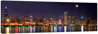 Chicago Cubs Pride Lighting Across Downtown Skyline II, Chicago, Illinois, USA Canvas Art Print