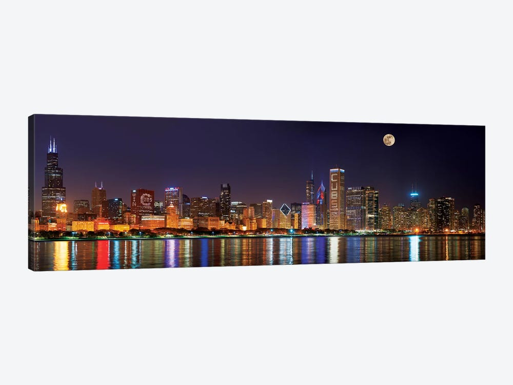 Chicago Cubs Pride Lighting Across Downtown Skyline II, Chicago, Illinois, USA by Panoramic Images 1-piece Canvas Art