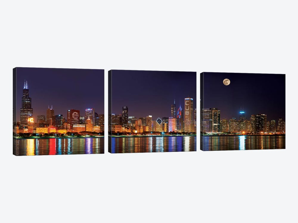 Chicago Cubs Pride Lighting Across Downtown Skyline II, Chicago, Illinois, USA by Panoramic Images 3-piece Canvas Art