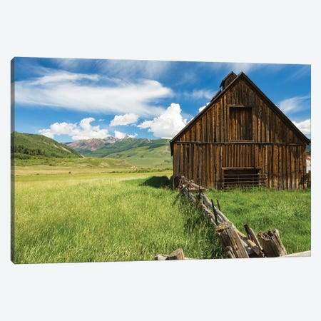 Abandoned Barn In A Field, Crested Butte, Colorado, USA Canvas Print #PIM14234} by Panoramic Images Canvas Art Print
