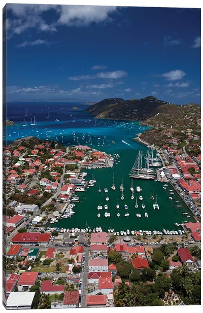 Aerial View Of Houses On An Island, Saint Barthélemy, Caribbean Sea Canvas Art Print