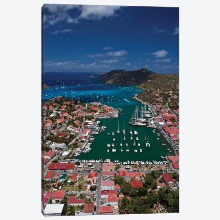 Aerial View Of Houses On An Island, Saint Barthélemy, Caribbean Sea Canvas Print #PIM14238} by Panoramic Images Canvas Art