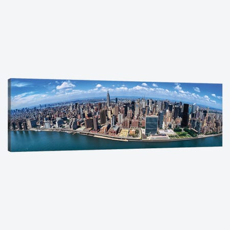 Aerial View Of New York City, New York State, USA I 3-Piece Canvas #PIM14239} by Panoramic Images Canvas Artwork