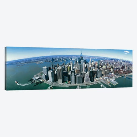 Aerial View Of New York City, New York State, USA II 3-Piece Canvas #PIM14240} by Panoramic Images Canvas Art Print