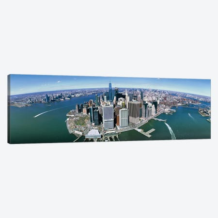 Aerial View Of New York City, New York State, USA III 3-Piece Canvas #PIM14241} by Panoramic Images Canvas Print