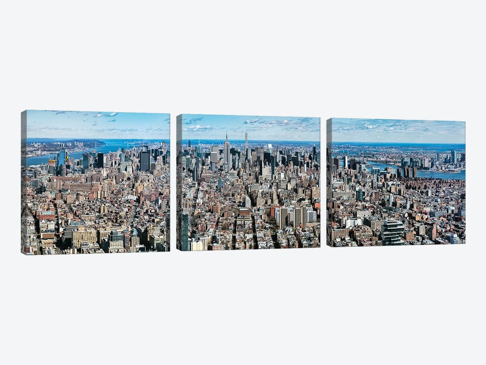Aerial View Of New York City, New York State, USA V by Panoramic Images 3-piece Canvas Art