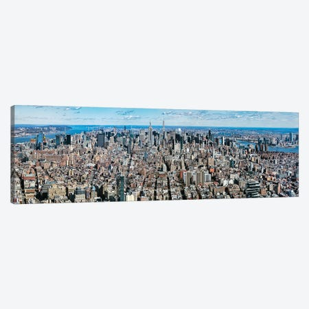 Aerial View Of New York City, New York State, USA V 3-Piece Canvas #PIM14243} by Panoramic Images Canvas Print