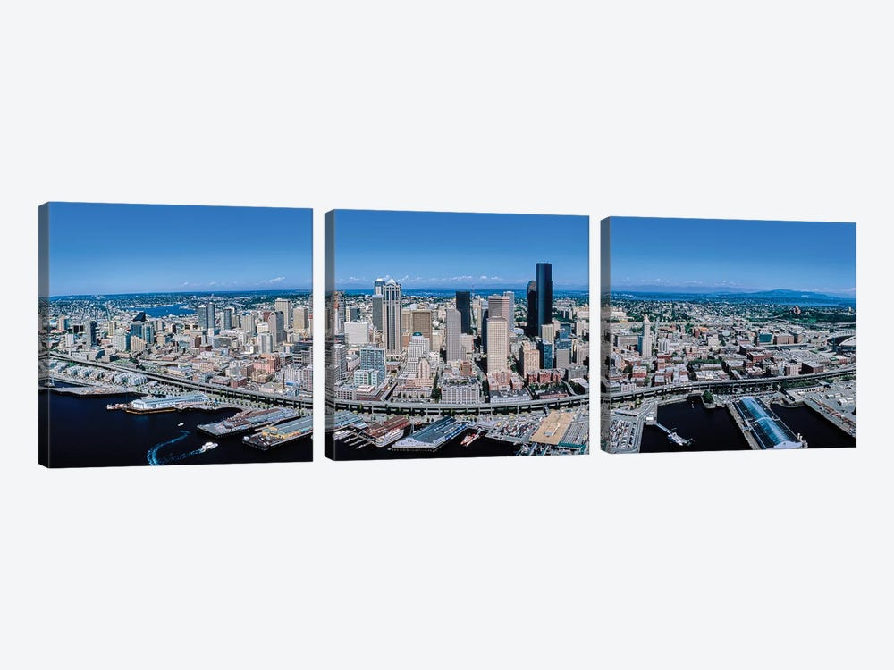 Aerial View Of Seattle, King County, Washington State, USA by Panoramic Images 3-piece Canvas Art Print