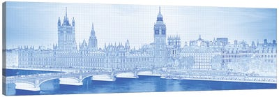 Arch Bridge Across A River, Westminster Bridge, Big Ben, Houses Of Parliament, Westminster, London, England Canvas Art Print