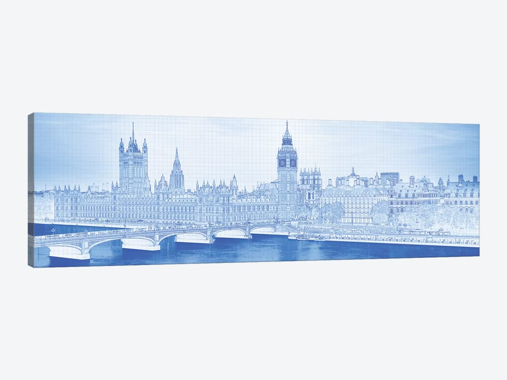 Arch Bridge Across A River, Westminster Bridge, Big Ben, Houses Of Parliament, Westminster, London, England by Panoramic Images 1-piece Canvas Artwork