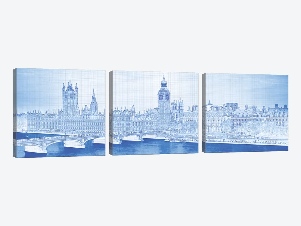 Arch Bridge Across A River, Westminster Bridge, Big Ben, Houses Of Parliament, Westminster, London, England by Panoramic Images 3-piece Canvas Art