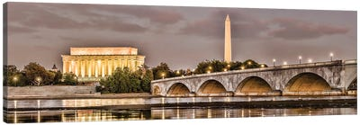 Arlington Memorial Bridge With Monuments In The Background, Washington D.C., USA I Canvas Art Print
