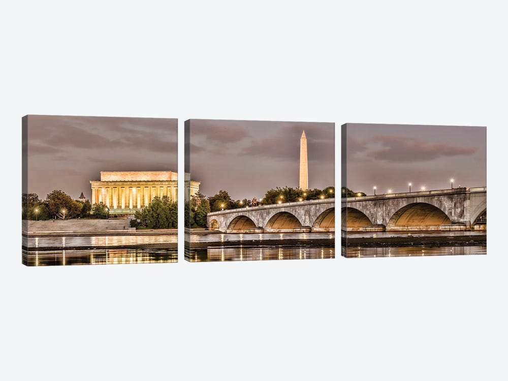 Arlington Memorial Bridge With Monuments In The Background, Washington D.C., USA I by Panoramic Images 3-piece Art Print