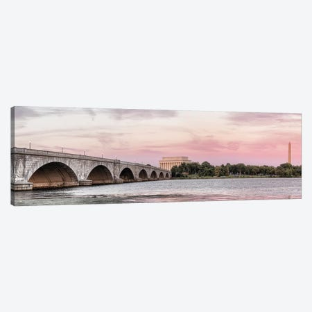 Arlington Memorial Bridge With Monuments In The Background, Washington D.C., USA II 3-Piece Canvas #PIM14254} by Panoramic Images Canvas Print