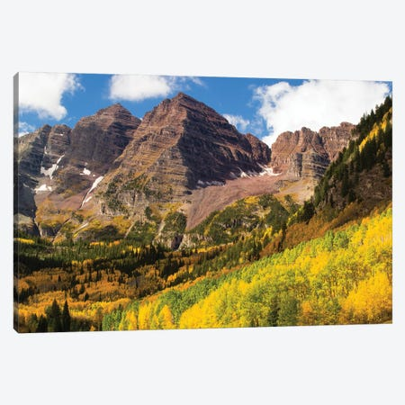 Autumn Trees On Mountain, Maroon Bells, Maroon Creek Valley, Aspen, Pitkin County, Colorado, USA III Canvas Print #PIM14271} by Panoramic Images Canvas Artwork