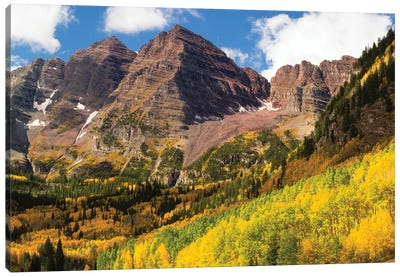 Autumn Trees On Mountain, Maroon Bells, Maroon Creek Valley, Aspen, Pitkin County, Colorado, USA III Canvas Art Print