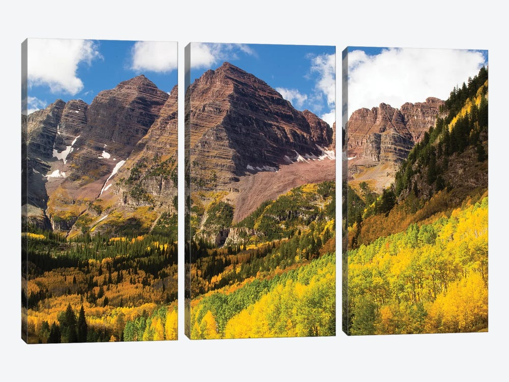Autumn Trees On Mountain, Maroon Bells, Maroon Creek Valley, Aspen, Pitkin County, Colorado, USA III by Panoramic Images 3-piece Canvas Print