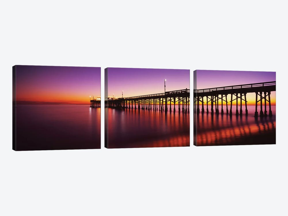 Balboa Pier At Sunset, Newport Beach, Orange County, California, USA by Panoramic Images 3-piece Canvas Art