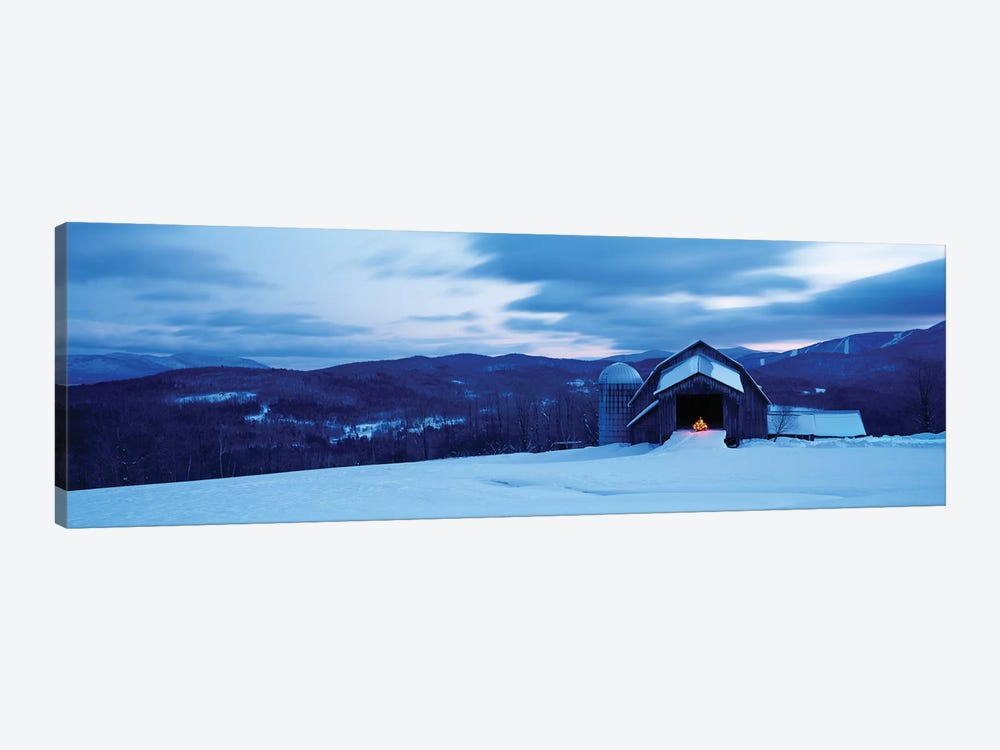 Barn In A Snow Covered Field, Vermont, USA by Panoramic Images 1-piece Canvas Wall Art