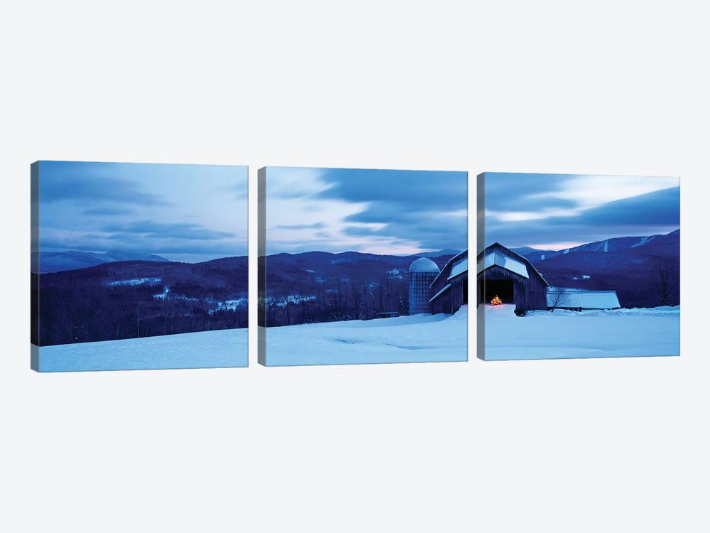 Barn In A Snow Covered Field, Vermont, USA by Panoramic Images 3-piece Canvas Artwork