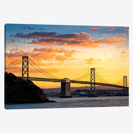 Bay Bridge Over The Pacific Ocean, Oakland, San Francisco Bay, California, USA Canvas Print #PIM14284} by Panoramic Images Canvas Artwork