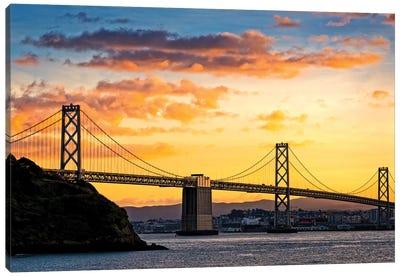 Bay Bridge Over The Pacific Ocean, Oakland, San Francisco Bay, California, USA Canvas Art Print