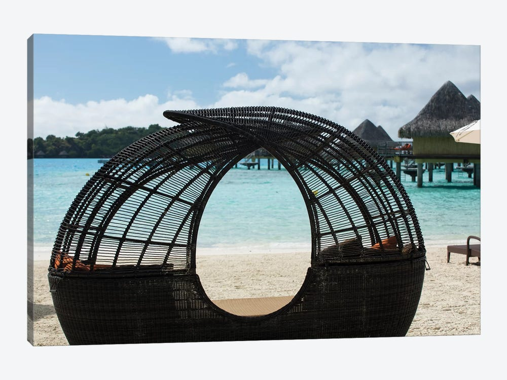 Beach Chair On The Beach, Bora Bora, Society Islands, French Polynesia by Panoramic Images 1-piece Canvas Artwork