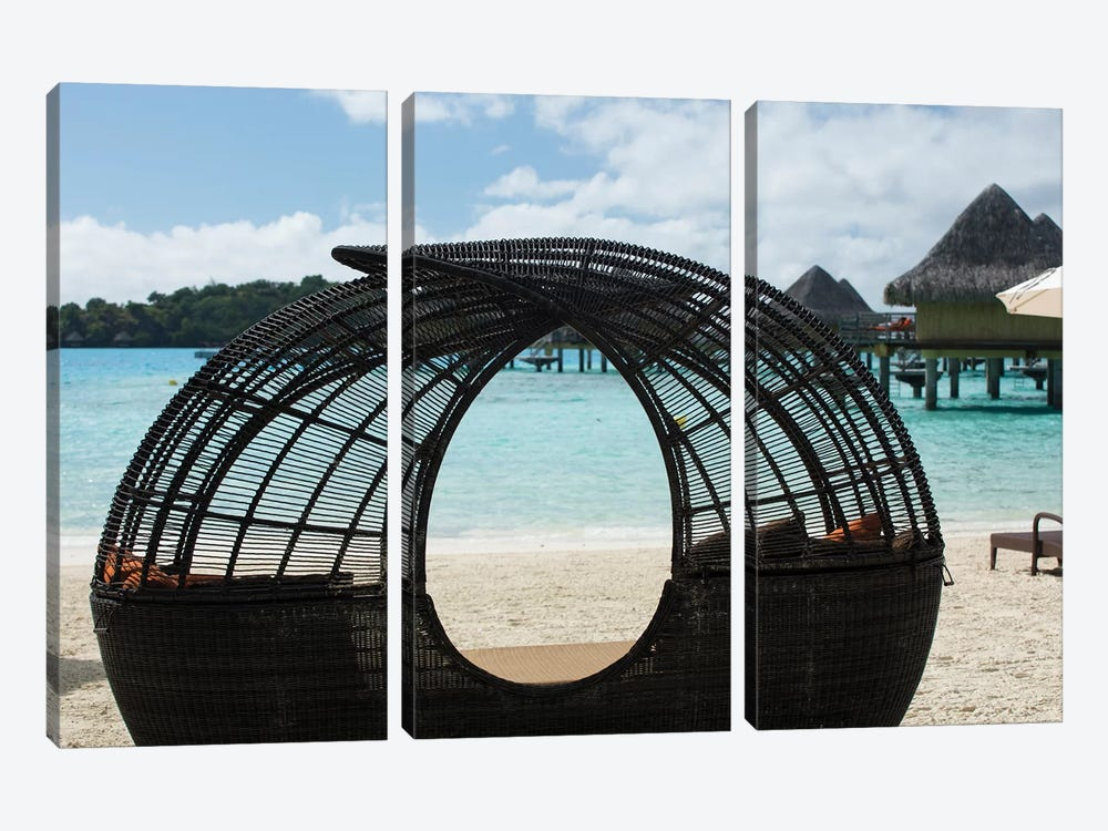 Beach Chair On The Beach, Bora Bora, Society Islands, French Polynesia by Panoramic Images 3-piece Canvas Art