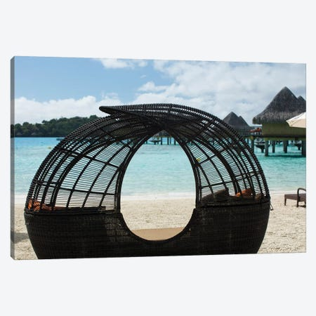 Beach Chair On The Beach, Bora Bora, Society Islands, French Polynesia Canvas Print #PIM14287} by Panoramic Images Canvas Artwork