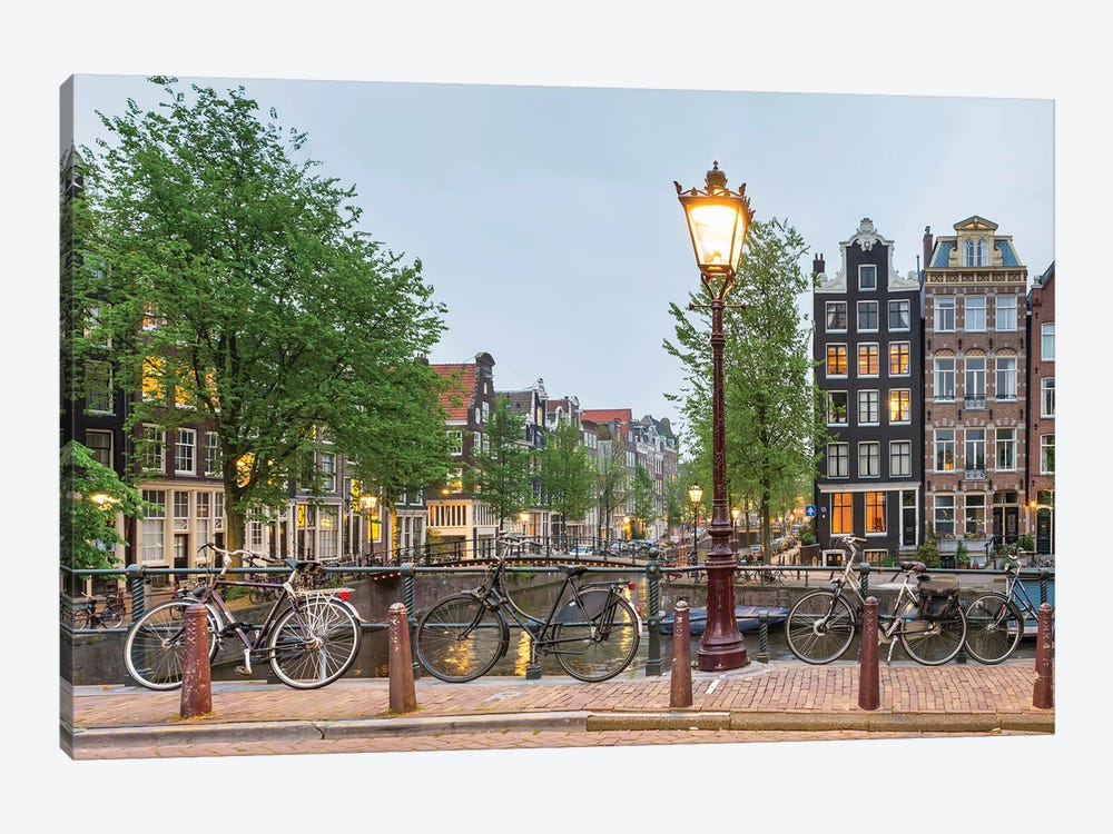 Bikes And Houses Along Canal At Dusk, Amsterdam, North Holland by Panoramic Images 1-piece Canvas Wall Art